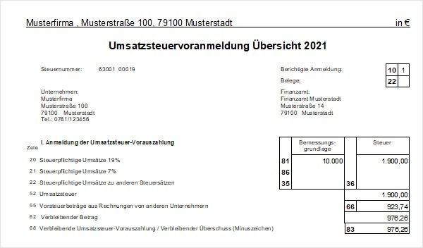 Screenshot einer Umsatzsteuervoranmeldung