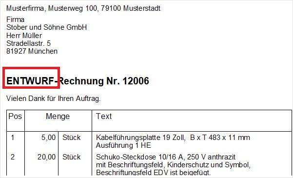 Screenshot Rechnungsentwurf